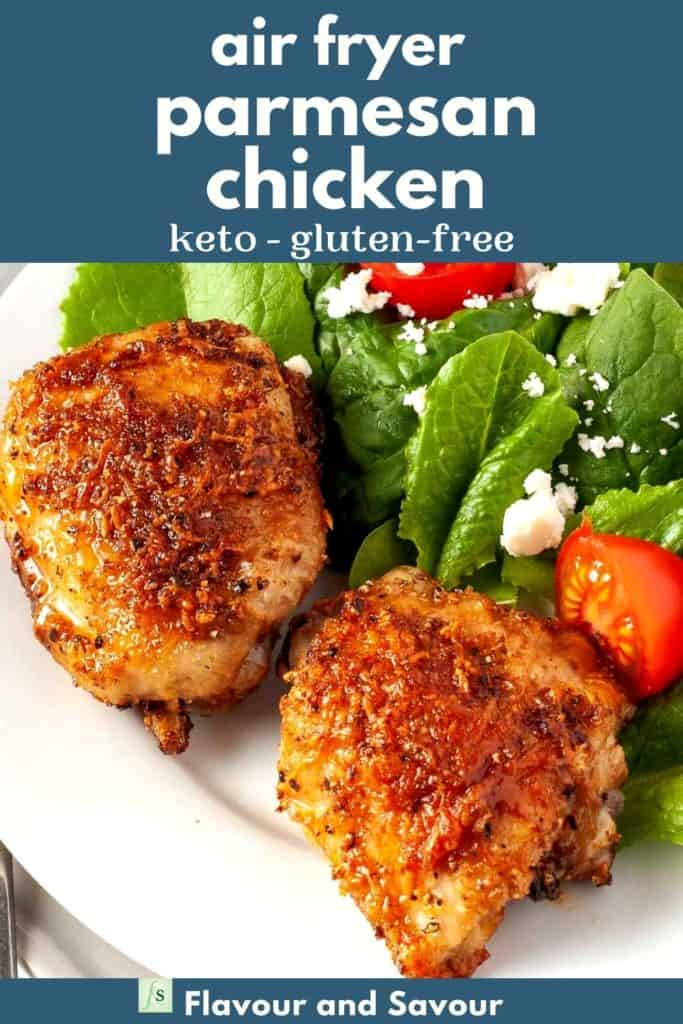text and image for air fryer garlic parmesan chicken