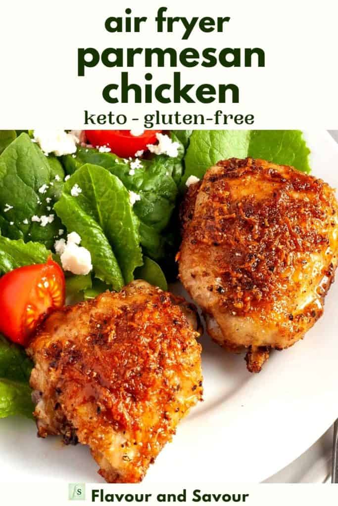Image with text overlay for Air Fryer Parmesan Chicken
