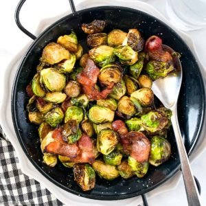 Brussels Sprouts with bacon in serving dish