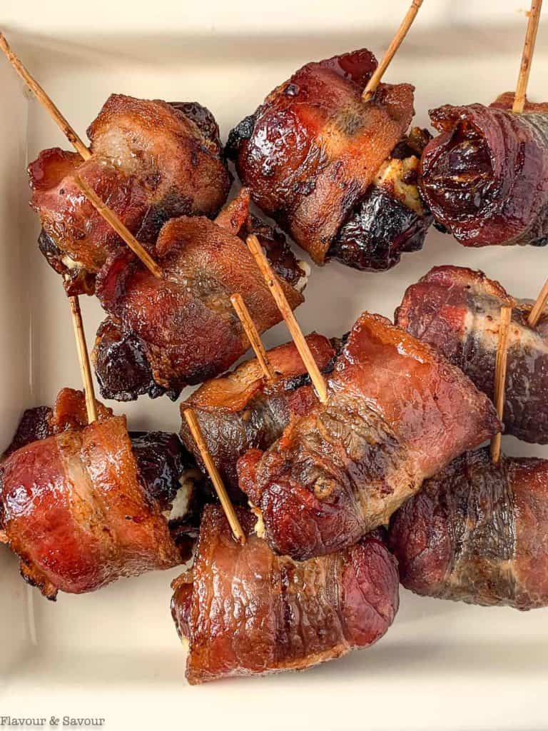 Close up overhead view of bacon wrapped dates