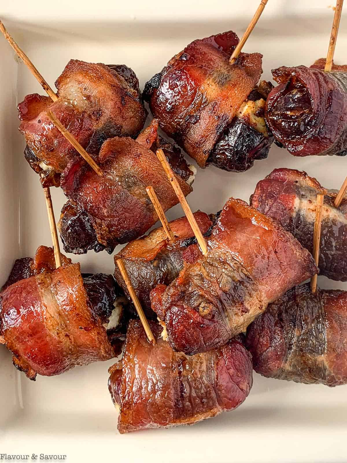 Air Fryer Bacon-Wrapped Dates on toothpicks