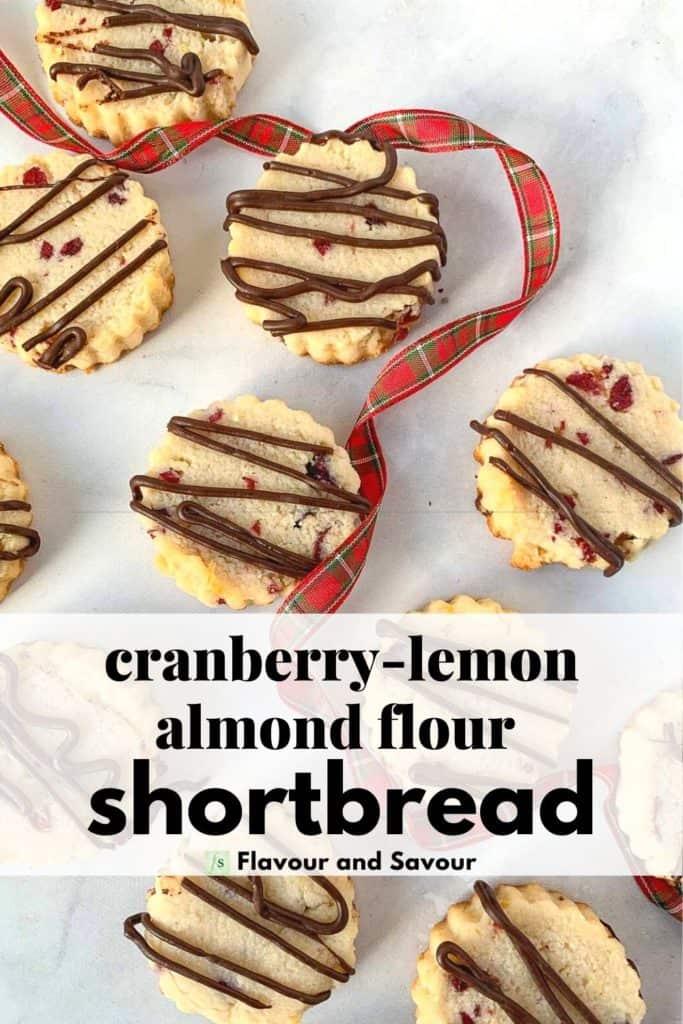 Image with text overlay Cranberry Lemon Almond Flour Shortbread