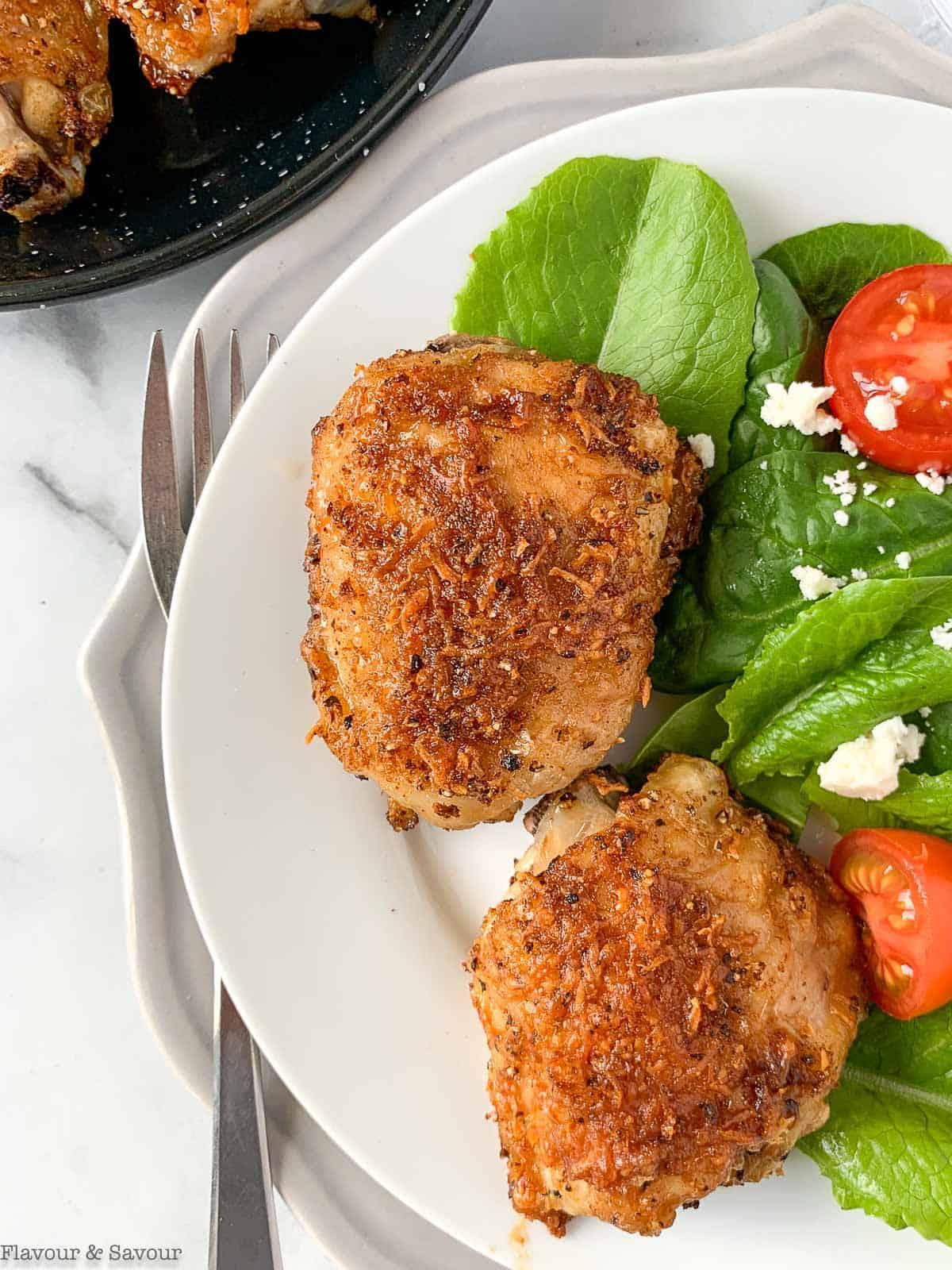 Air Fryer Garlic Parmesan Chicken with salad