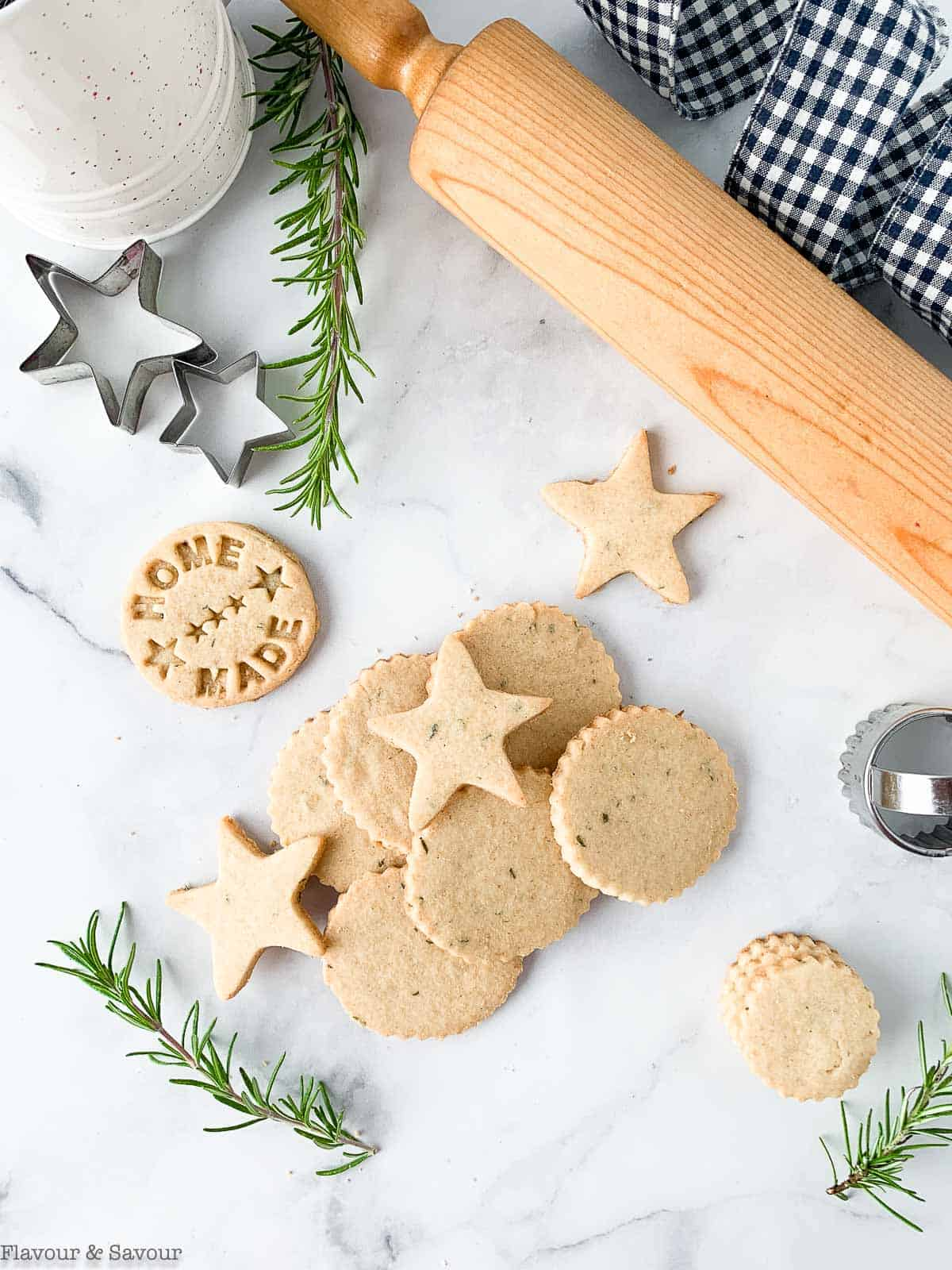 Cut out rosemary cookies with star shapes