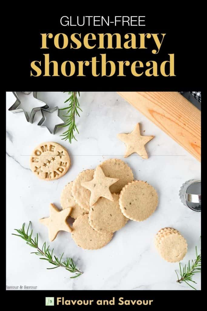 Image and text overlay Rosemary Shortbread Cookies