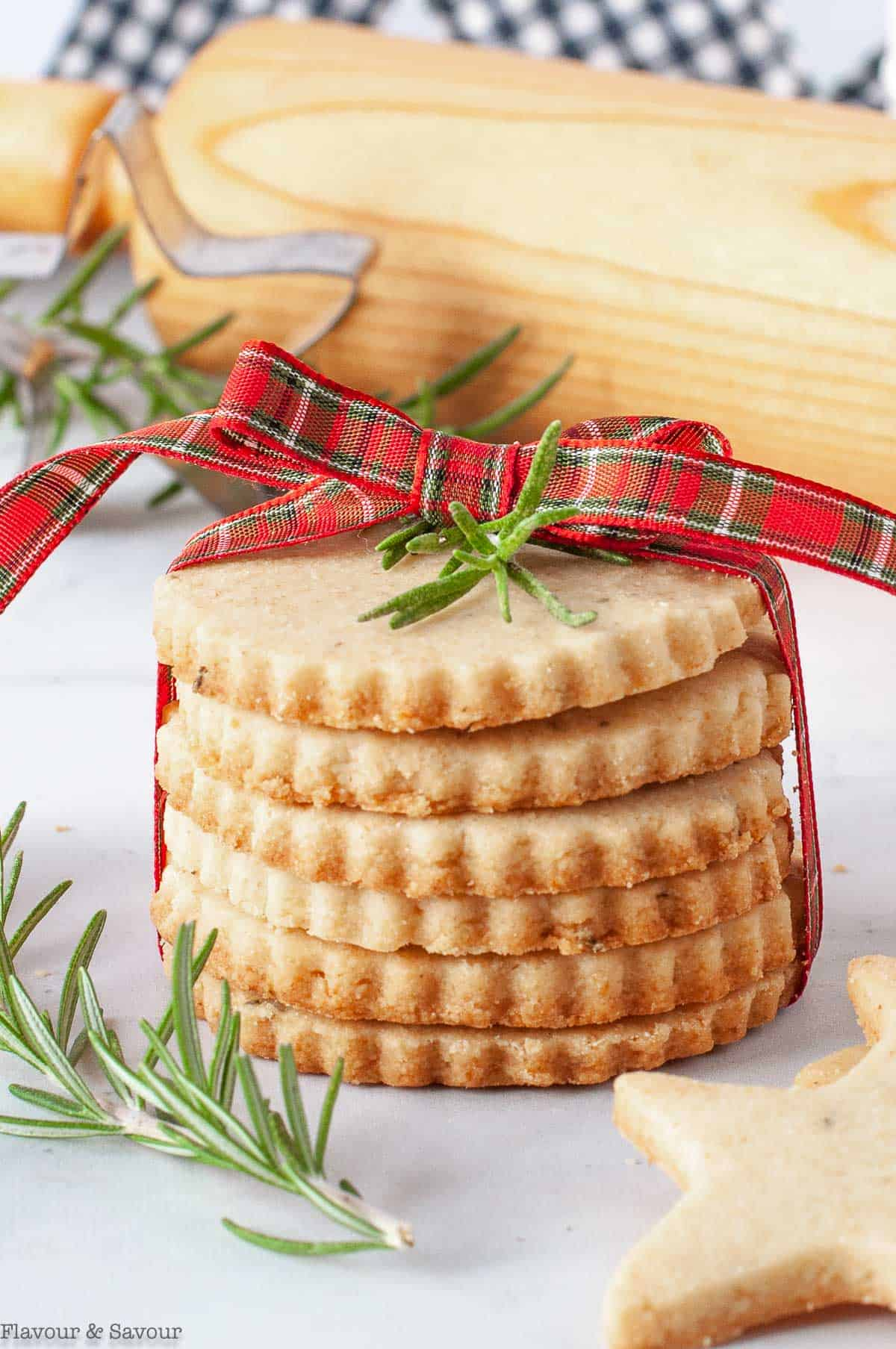 A stack of cookies tied with a plaid ribbon
