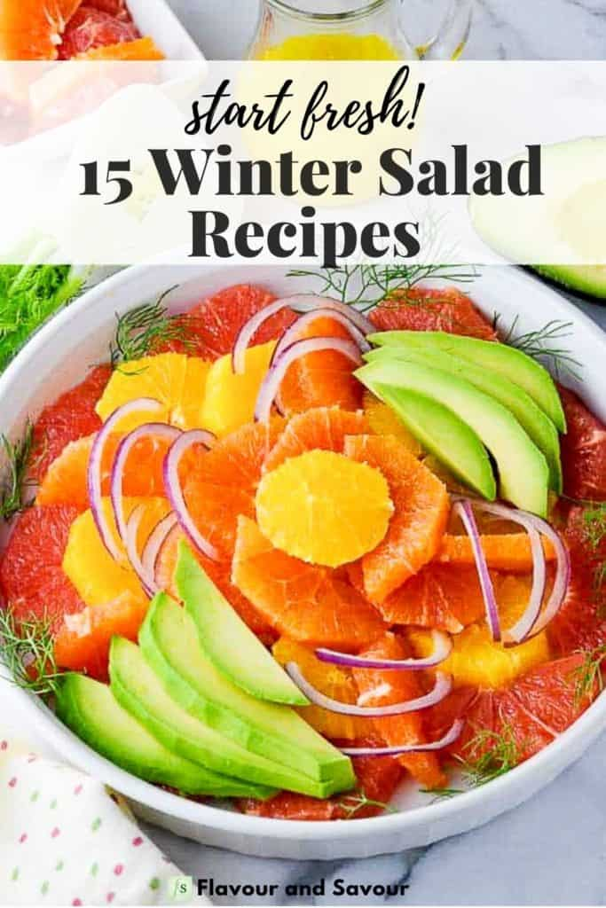 Image of citrus salad with text 15 Winter Salad Recipes