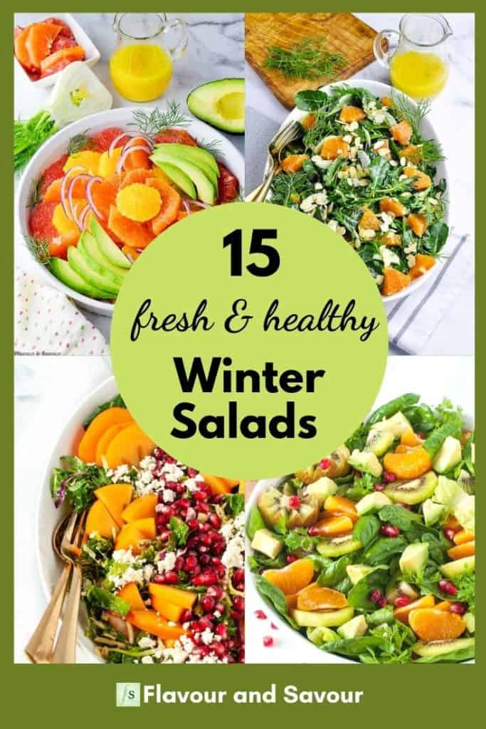 Collage image and text for 15 fresh and healthy winter salads