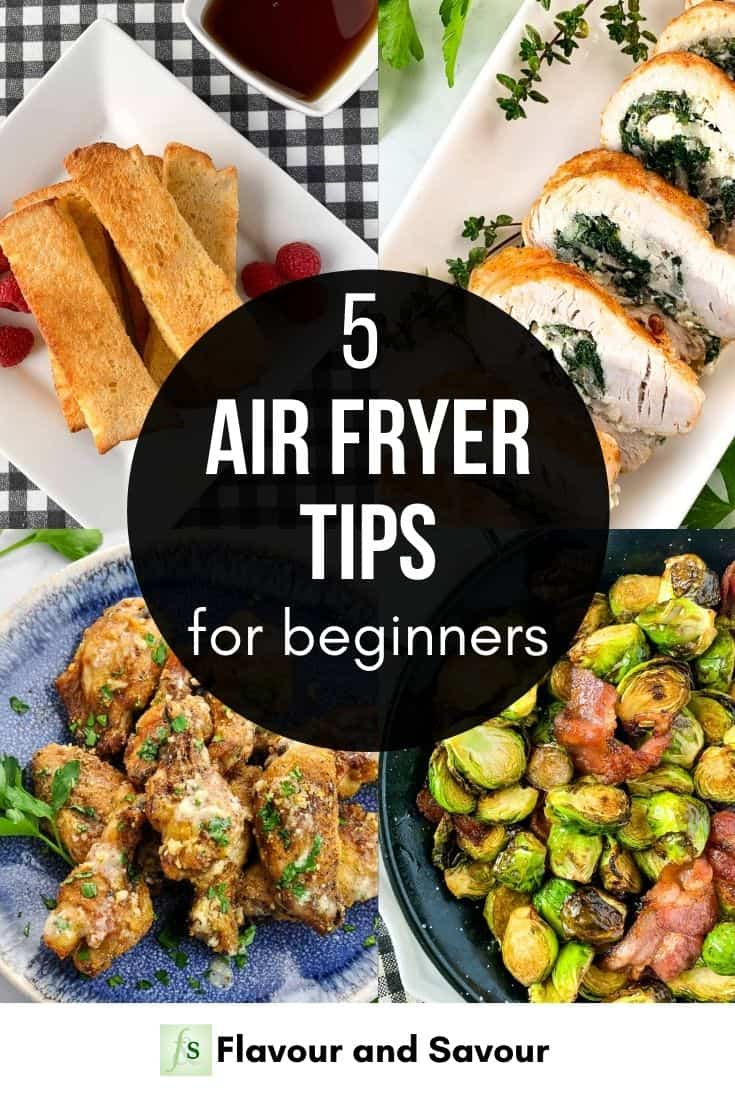 Text and Image Collage for 5 Air Fryer Tips for Beginners