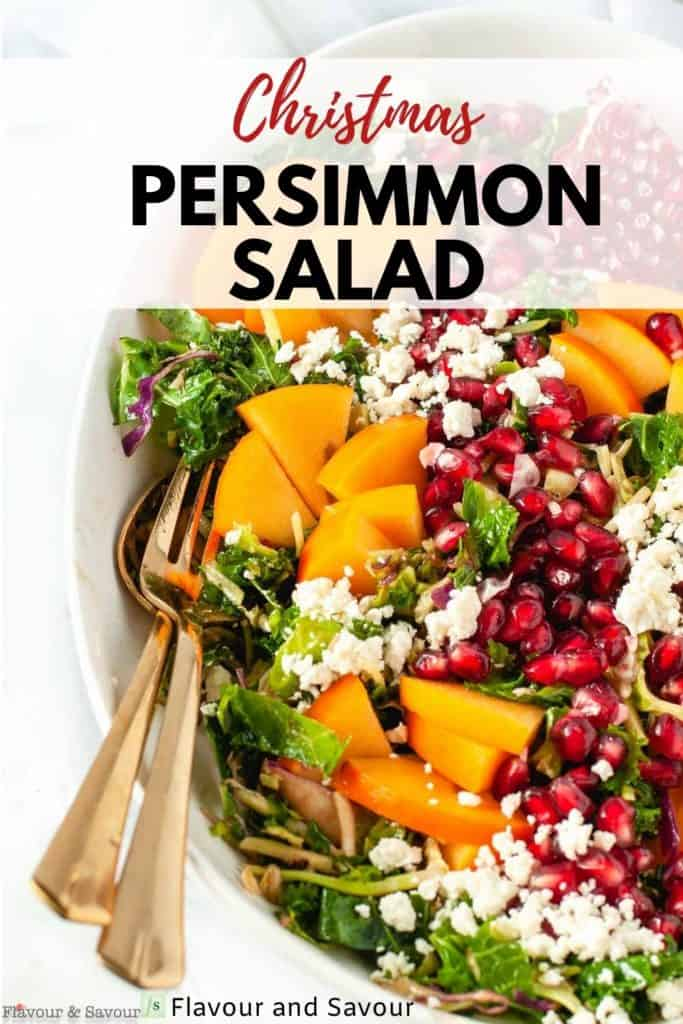 Image and text overlay for Christmas Persimmon Salad