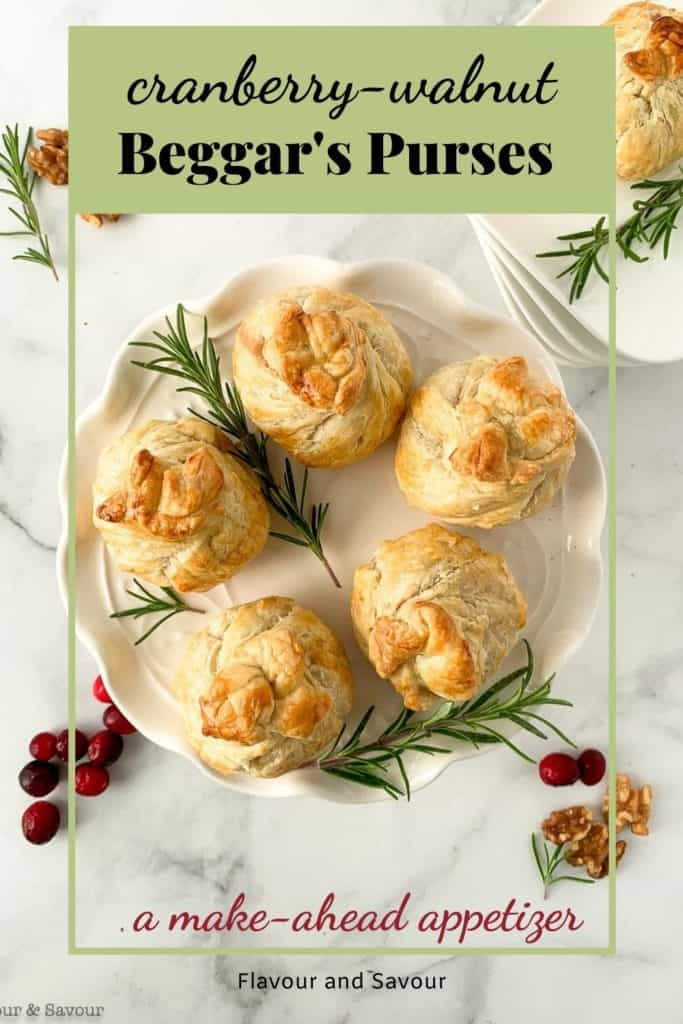 Image with text overlay for Cranberry Walnut Beggars' Purses appetizers