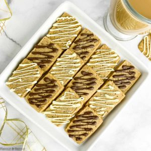 Overhead view of Espresso Shortbread Cookies on a square plate