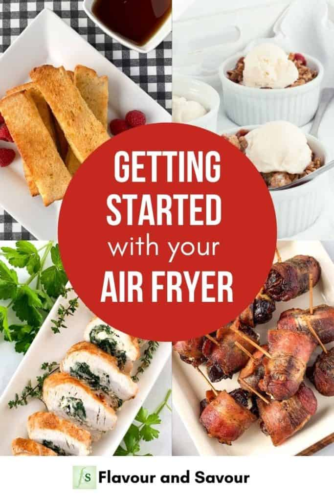 Text with Image collage for getting started with your air fryer
