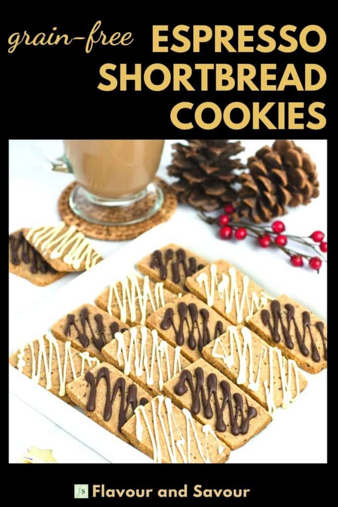 Image and text overlay for Grain-free Espresso Shortbread Cookies