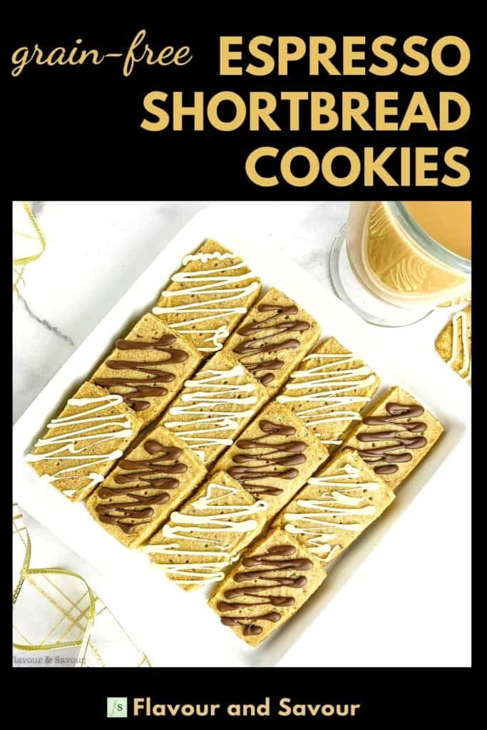 Image with text for grain-free Espresso Shortbread Cookies