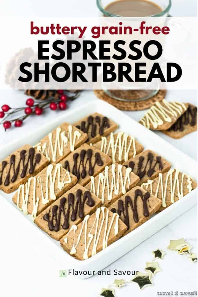 Image and Text overlay for Buttery Grain-Free Espresso Shortbread
