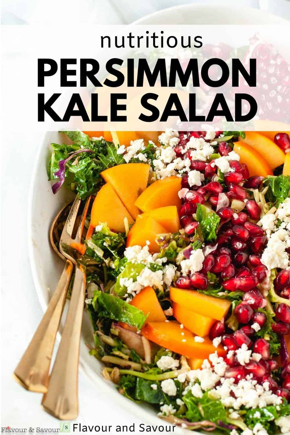 text and image for nutritious Persimmon Kale Salad