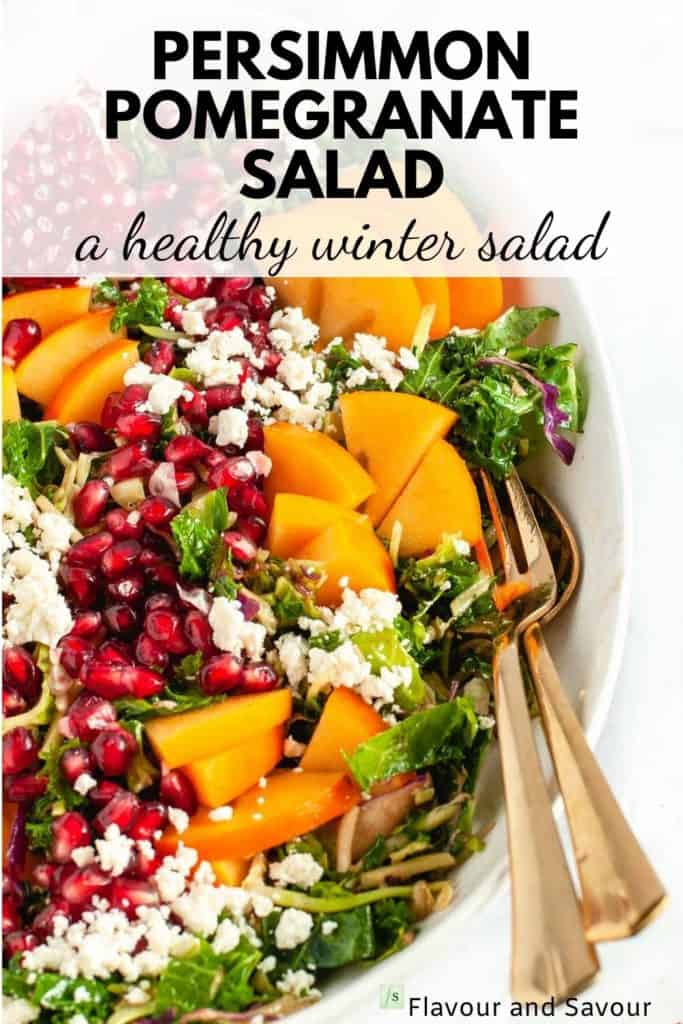 image and text overlay for Winter Persimmon Pomegranate Salad