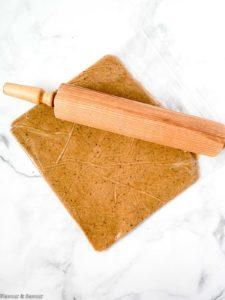 Rolling dough inside a ziplock bag for Espresso Shortbread