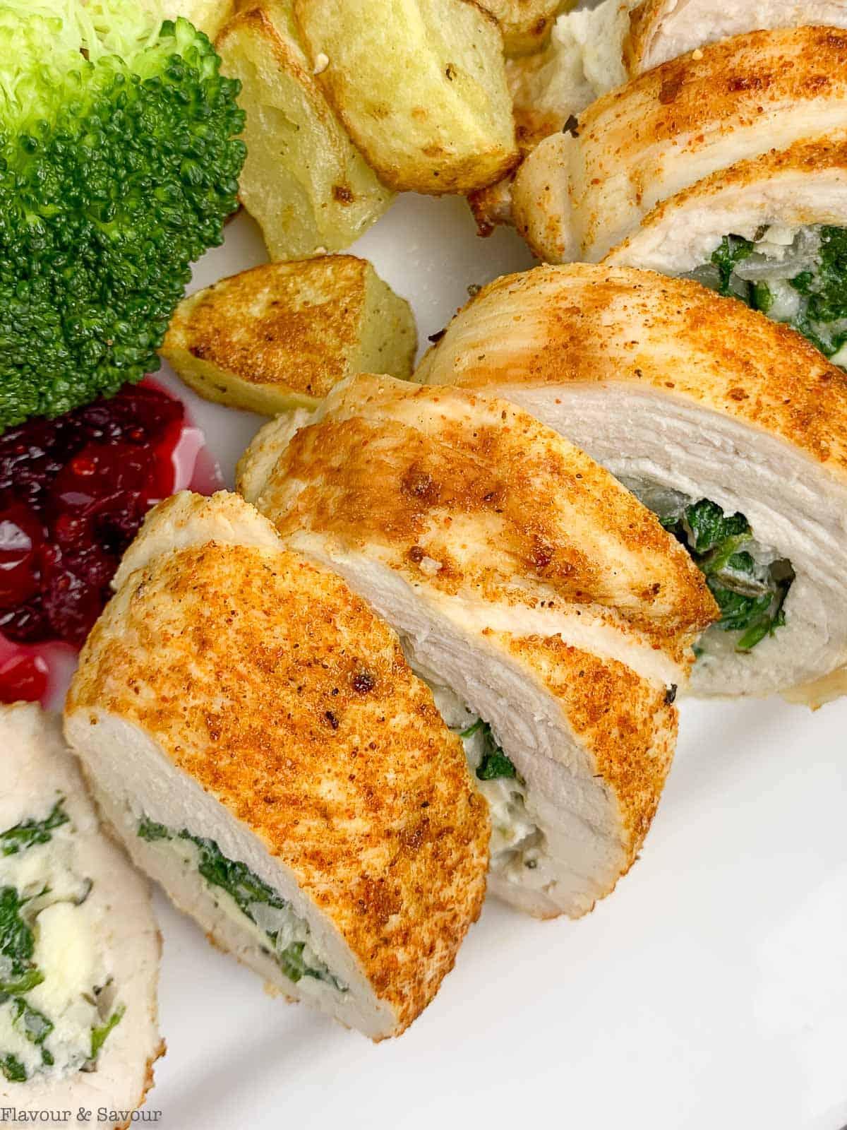 Rolled Stuffed Turkey Breast with broccoli