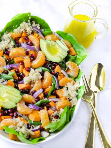 Overhead view of Sweet Potato Quinoa Salad with dressing