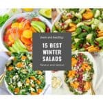Collage image and text for 15 best winter salads
