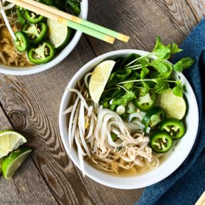 Two bowls of Instant Pot Chicken Pho