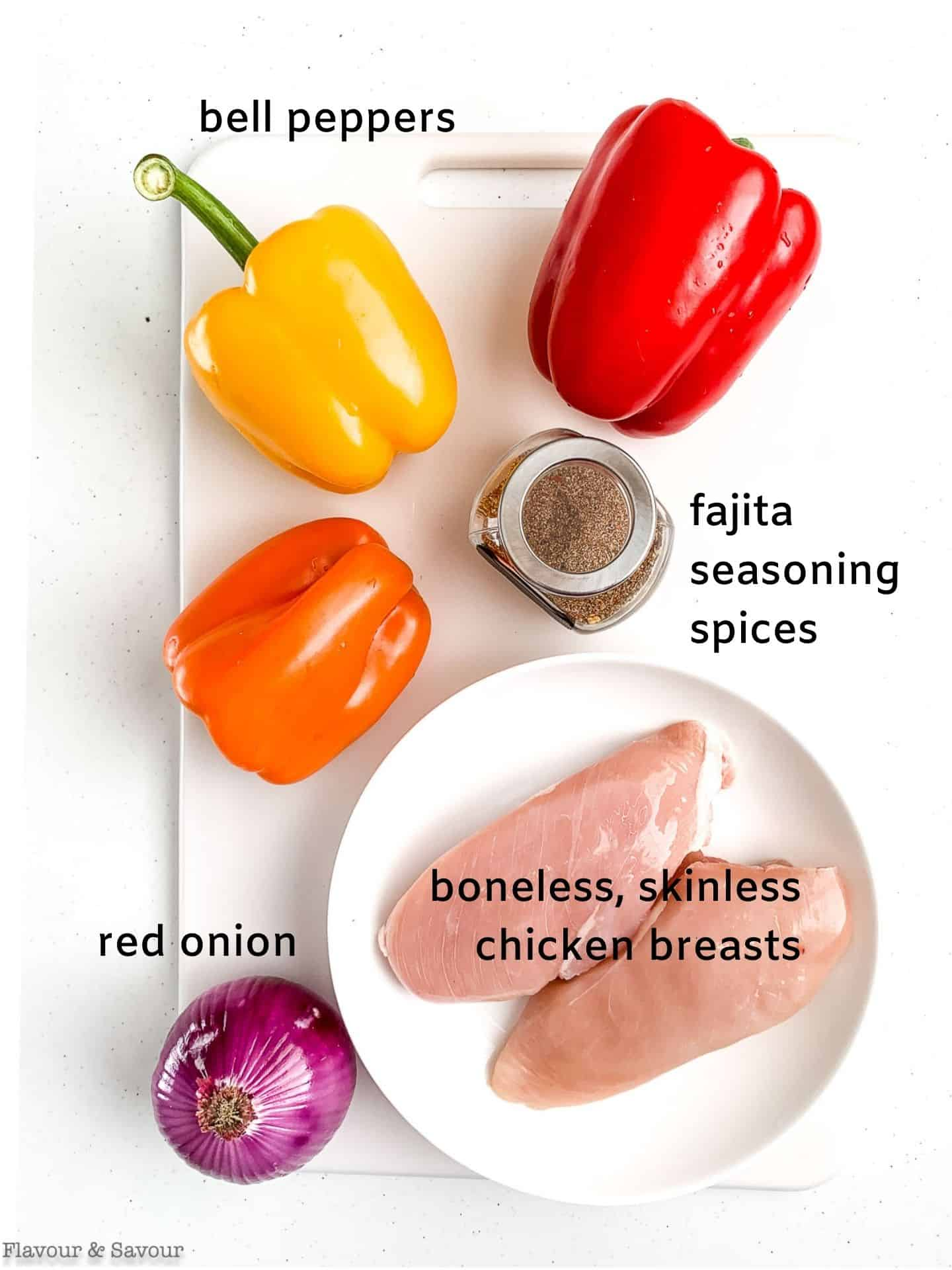A labeled photo of ingredients for Air Fryer Chicken Fajitas