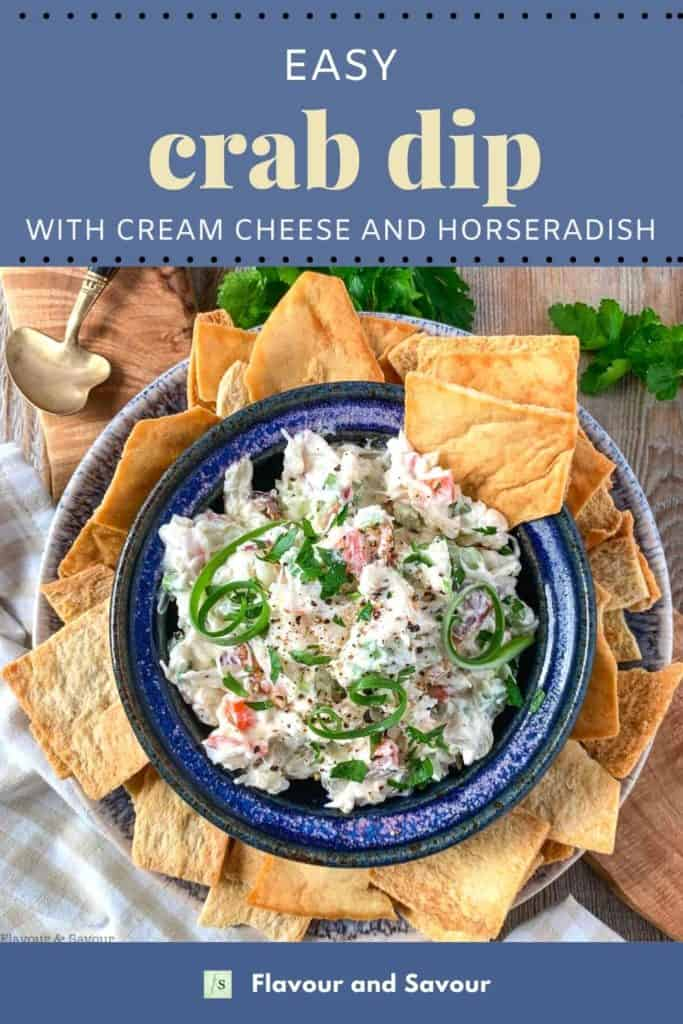 Image and text for easy Crab Dip with cream cheese and horseradish