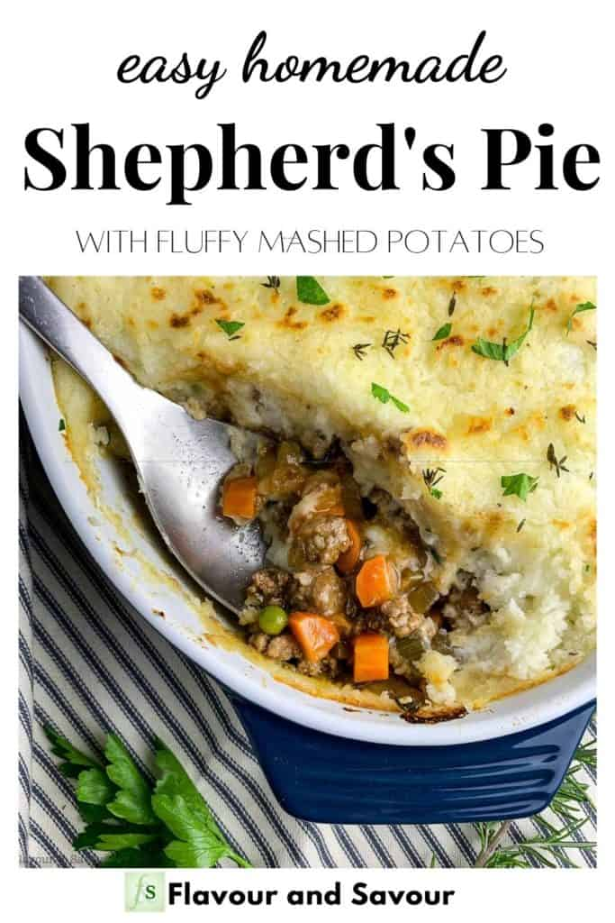 Image with text for Easy Homemade Shepherd's Pie with fluffy mashed potatoes