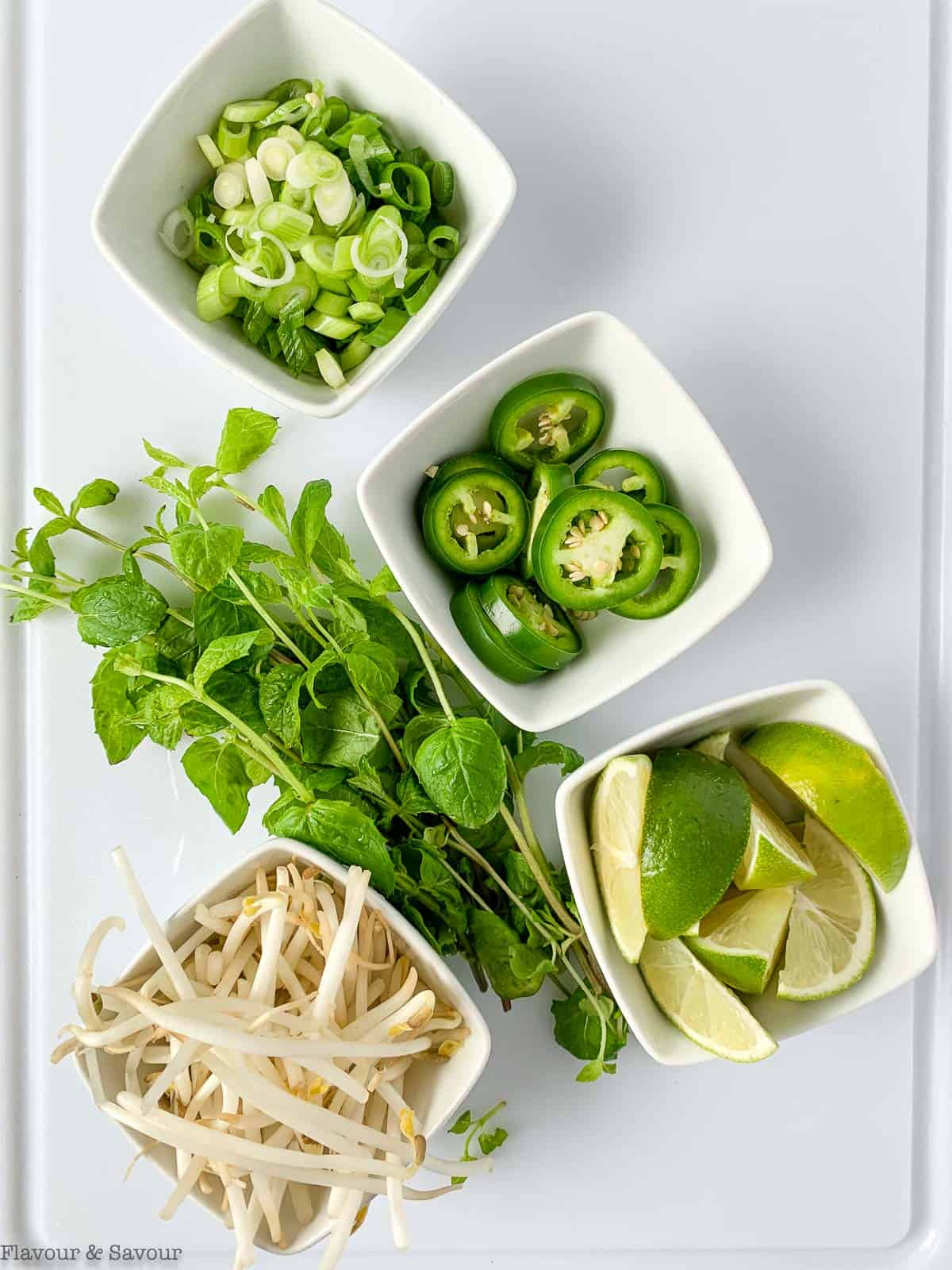 Garnishes for Instant Pot Chicken Pho or Vietnamese Chicken Noodle Soup