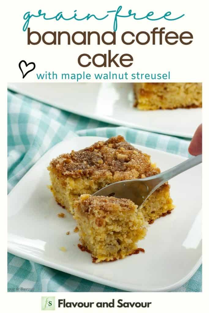 text and image for grain-free banana coffee cake with maple walnut streusel
