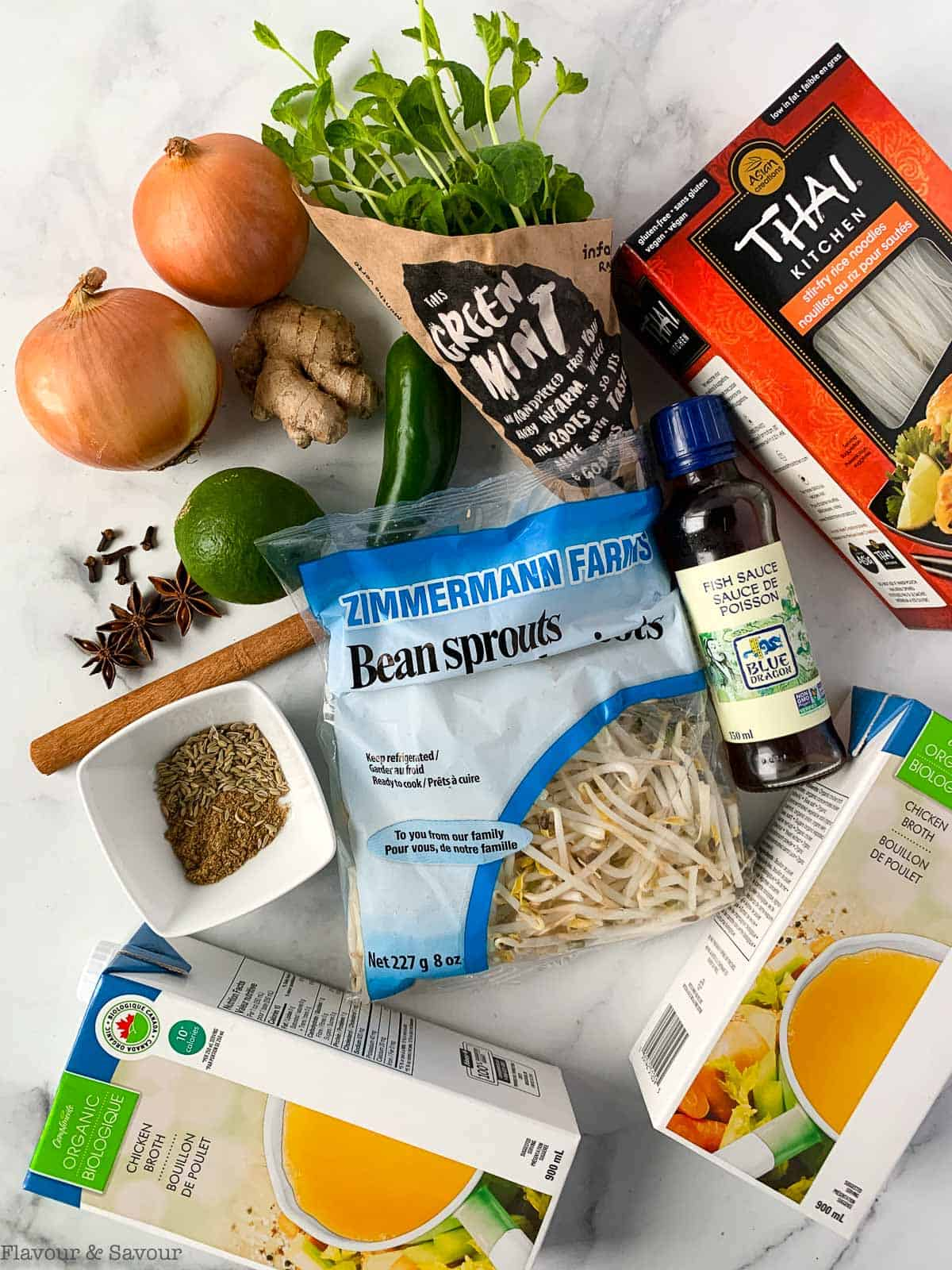 Overhead view of ingredients for Instant Pot Chicken Pho or Vietnamese Chicken Noodle Soup