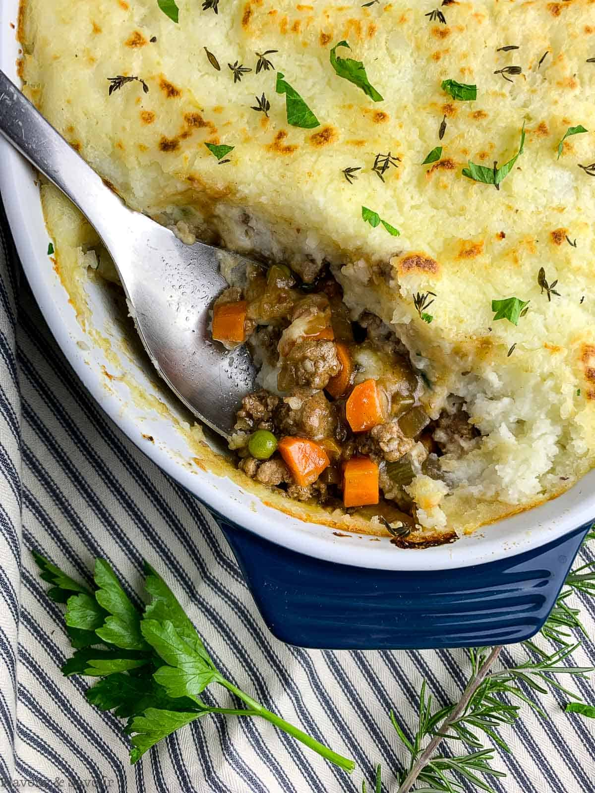 Close up image of the layers of homemade Shepherd's Pie