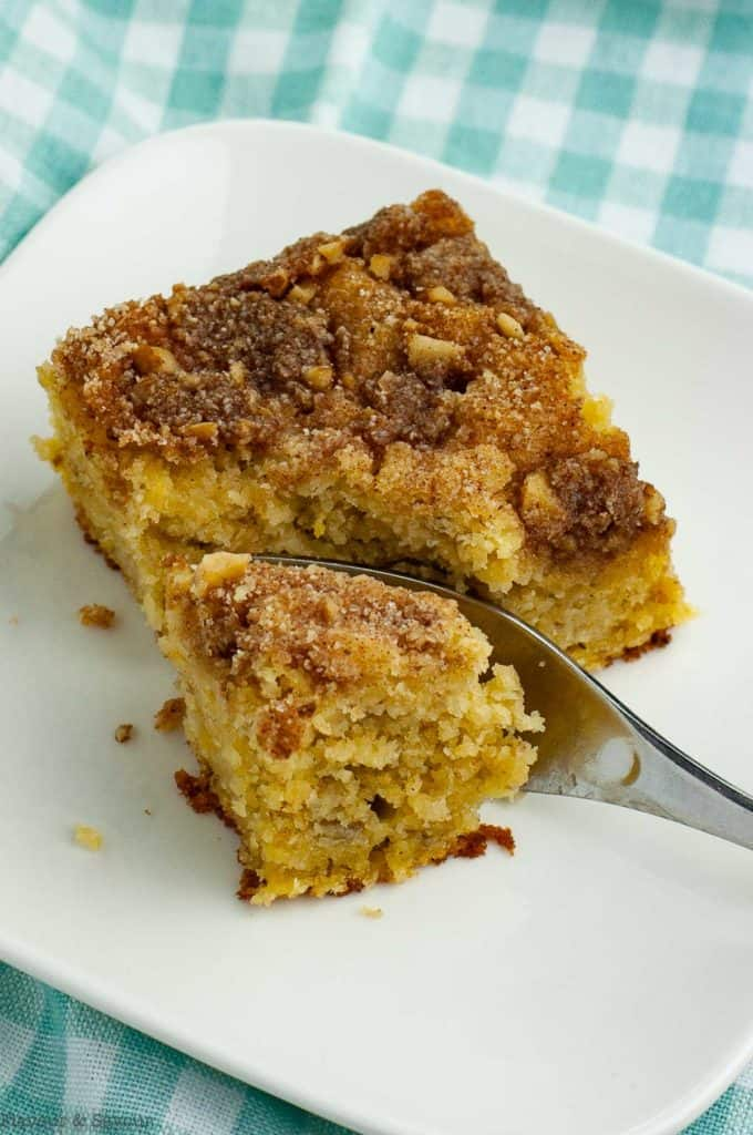 close up view of a piece of Grain-Free Banana Coffee Cake with a fork