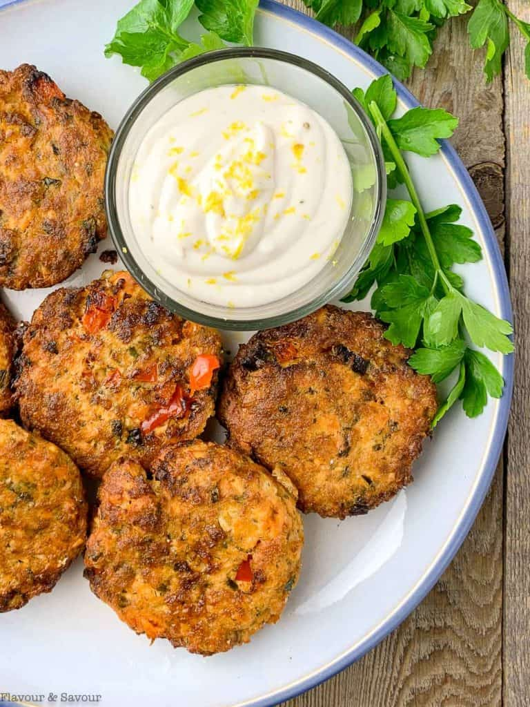 Overhead view of Air Fryer Salmon cakes