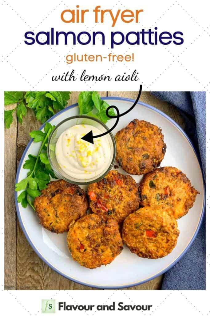 Text with image for air fryer salmon patties with lemon aioli dip