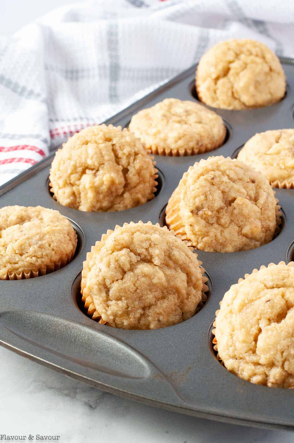 Almond Flour Banana Cupcakes in a muffin tin