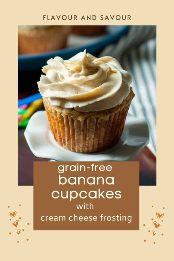 Image with text overlay for almond flour banana cupcakes
