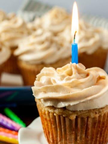 Almond Flour Banana Cupcake with a birthday candle