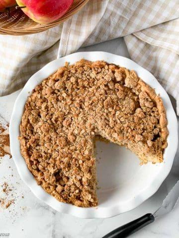 Overhead view of Gluten-free Dutch Apple Pie