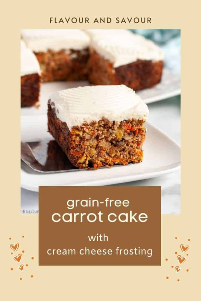 Image with text for grain-free, gluten-free carrot cake with pineapple