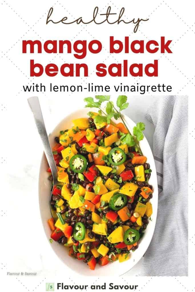 Text and image for healthy mango black bean salad with lemon lime vinaigrette