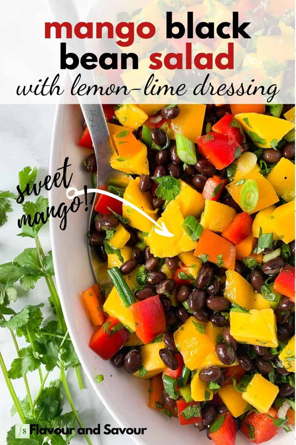 Text and image for mango black bean salad with lemon lime dressing
