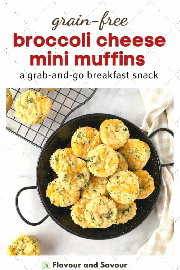 Text and image for mini Gluten-Free Broccoli Cheddar Muffins