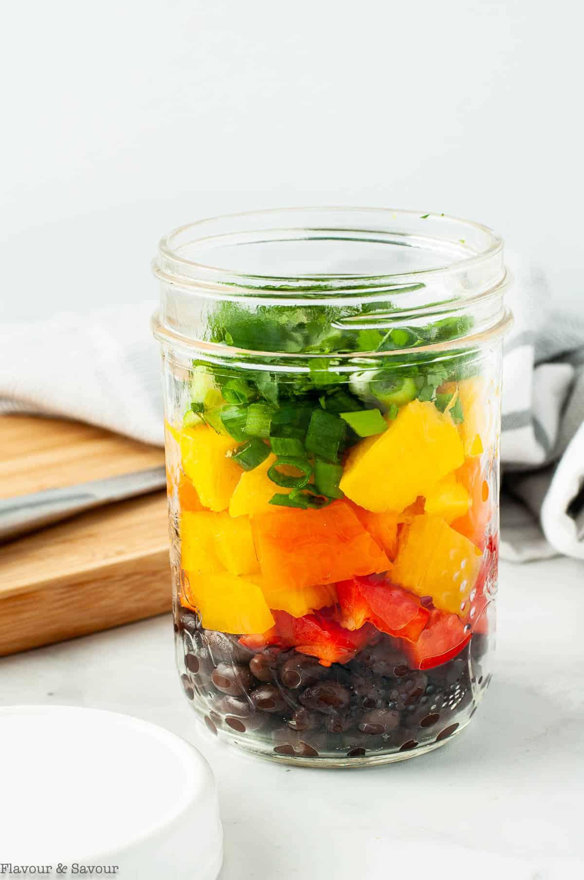 Mango Black Bean Salad in Mason jar.