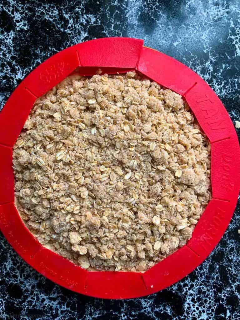 Pie crust protector shield on apple pie