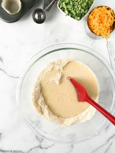 Adding wet ingredients to dry ingredients