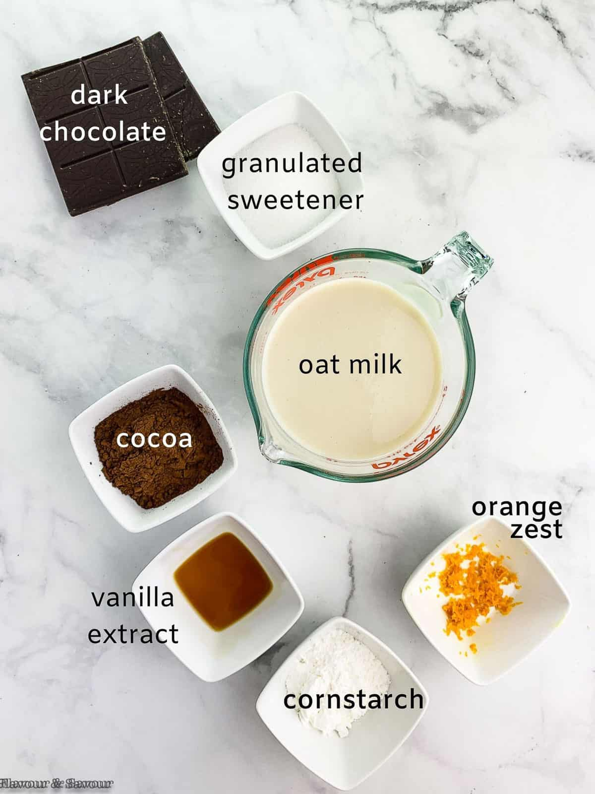 Ingredients for chocolate oat milk pudding