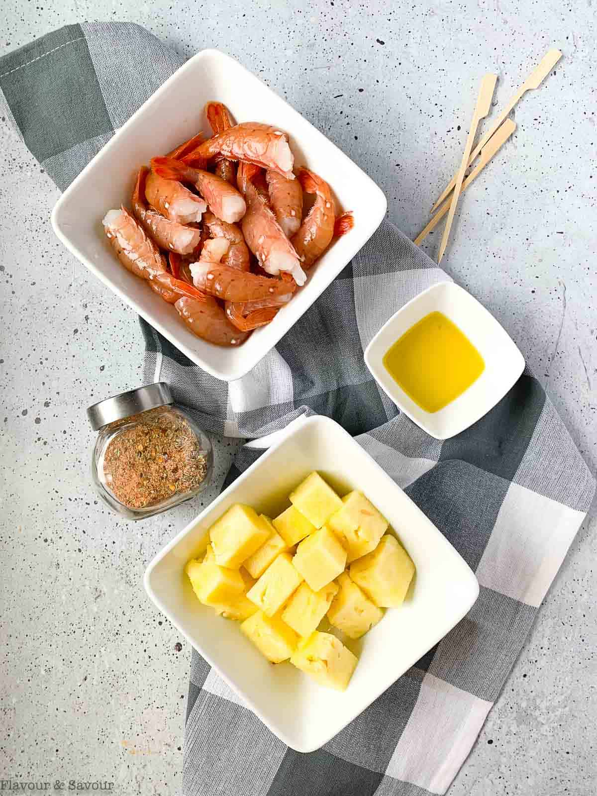 Ingredients for Grilled Prawn Kabobs with Pineapple